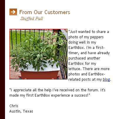 Earthbox Newsletter